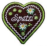 Lebkuchenherz Spatzl Edelweiss Herz Patch Aufnäher Bügelbild Applikation (grün)