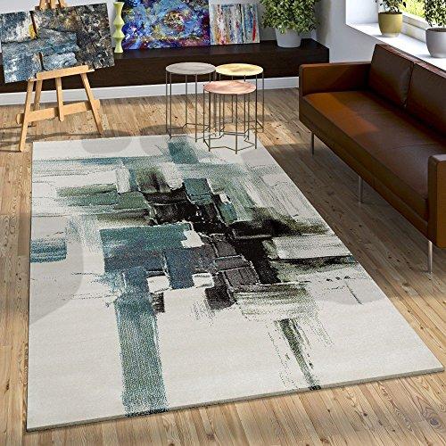 Alfombra Moderna Estilo Lienzo Estética Salpicaduras De Pintura Turquesa Crema, Grösse:80x150 cm