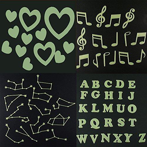 RotSale® Leuchtaufkleber Leuchtend Gemischt Wandsticker Leuchtende Sticker Alphabet Note Sternbild Liebe im Dunkeln