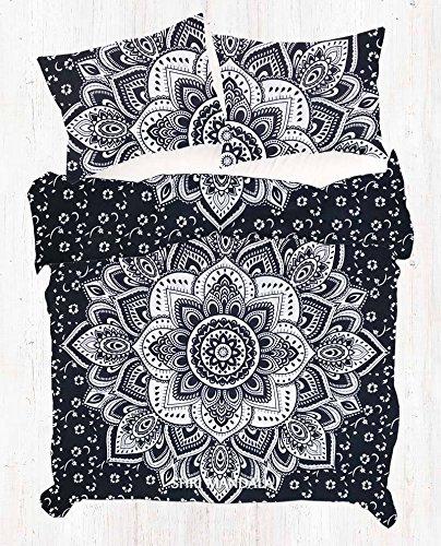 Remasuri Ombre Mandala Tröster Hippie Boho Baumwolle Doona Bettbezug indischen Tröster Mandala Hippie Bohemia Cover Set, baumwolle, Black&sliver, Queen (Tröster Cover Queen Baumwolle)