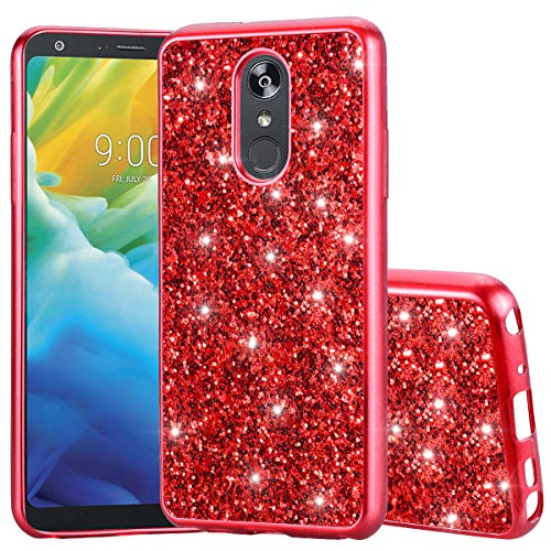 Schutzhülle für LG Stylo 4, LG Stylo 4 Plus, LG Q Stylus Case, DAMONDY Glitzer, Glitzer, Diamant, schlank, flexibel, weiches TPU, für Mädchen und Frauen, rot