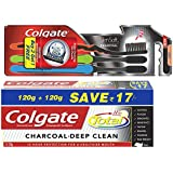 Total Charcoal Saver Pack Toothpaste (240gm) Plus Colgate Toothbrush Slim Soft Charcoal (Buy 2 Get 1)