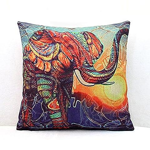 'Luxbon Kissenbezug Kissen Leinen Langlebig Malerei Elefant groß mehrfarbig Deko für Sofa Bett Auto 18x 1845x 45cm