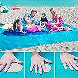 Playa de la manta del cojín Colchoneta Hermosa playa, arena mágica playa libre de arena estera de la playa libre de la manta de la alfombra alfombra de picnic, de secado rápido, fácil de limpiar ideal para la playa, picnic, camping, eventos al aire libre, manta de camping (azul, 150*200)