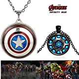 #5: 2 PC AVENGERS SET - CAPTAIN AMERICA REVOLVING SHIELD PENDANT & IRONMAN'S ARC REACTOR BLACK METAL TRENDY IMPORTED METAL PENDANT WITH CHAIN. LADY HAWK DESIGNER SERIES 2018. ❤ LATEST ARRIVALS - RINGS & T SHIRT - CAPTAIN AMERICA - AVENGERS - MARVEL - SHIELD - IRONMAN - HULK - THOR - X MEN - DC - BATMAN - SUPERMAN - SPIDERMAN - DEADPOOL - FLASH - WONDER WOMAN - BLACK PANTHER - DOCTOR STRANGE - VISION - SUPER HERO - NOW ON SALE IN AMAZON ❤