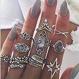 Yean - Set di anelli in argento per nocche, con cristalli boho, per donne e ragazze, 15 pezzi