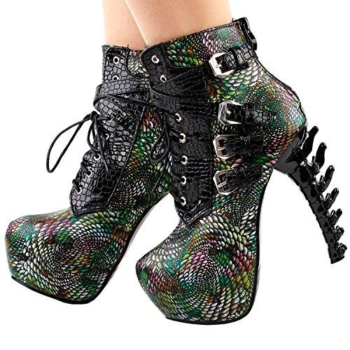 Show Story Punk Black Snake Drucken Spitze Beine Füße Stiefel, lf80648 Green