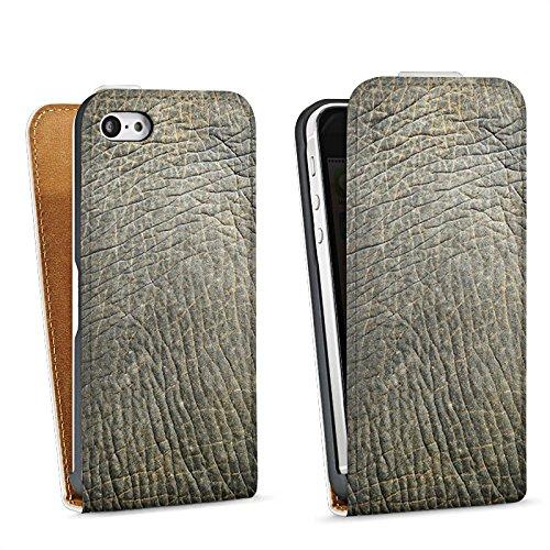Apple iPhone 4 Housse Étui Silicone Coque Protection Look peau d'éléphant Motif peau d'animal Structure Sac Downflip blanc