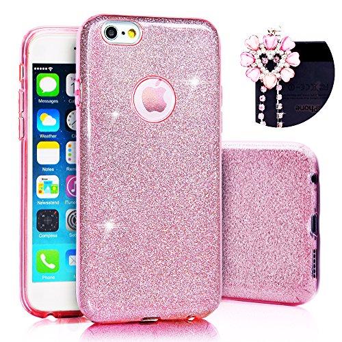 iPhone 6/6S Plus Case Cover, Sunroyal® Glitter Soft Morbido TPU Gel Silicone Protettivo Custodia Copertura (Stile Pieghevole Delle Cuffie)