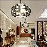 Ysddian Antiken chinesischen Teehaus Hotel Bamboo Bambus Lampen Engineering eine Süd-ost asiatischen Restaurant Bambus, Schwarz, 50 X 20 cm Pendelleuchte