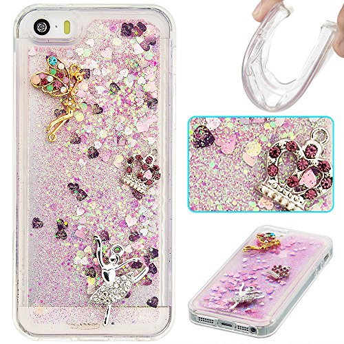 Case iPhone 5 / 5S / SE 3D Bling Diamant Design Coque, Sunroyal Glitter Bling Bling Dual Layer en Soft TPU Silicone Housse Transparent Clair Back Cover Strass Cristal Protecteur Étui Paillettes Flotta A-02