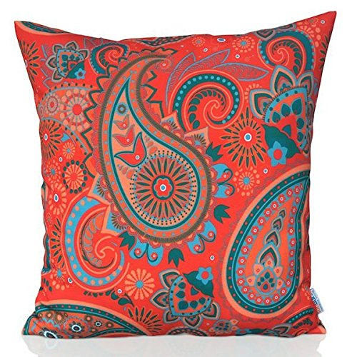 Sunburst Outdoor Living 60cm x 60cm SOUL Orange Decorative Throw Pillow Cushion Cover for Couch, Bed, Sofa or Patio - Only Case, No Insert
