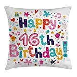 Linkla Danniol 16th Birthday Decorations Throw Pillow Cushion Cover, Joyful Icons Celebration Figures Party Note Surpris