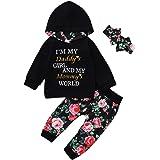 Bebé Niña Chándales Capucha con Estampado de Letras Floral de Manga Larga + Pantalones Conjunto de Ropa