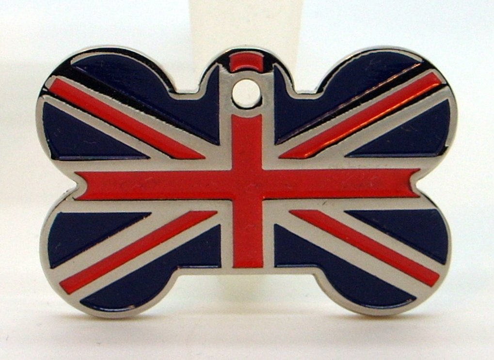 Union Jack Large Bone Shaped Pet Tag – Please send clear details of what you would like engraved on the tag + Free UK Delivery