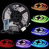 TOPLUS LED Streifen 5M Lichterkette (300LEDs SMD5050) RGB Beleuchtungsset inklusive IR Fernbedienung Empfänger und Netzteil mit EU Stromkabel