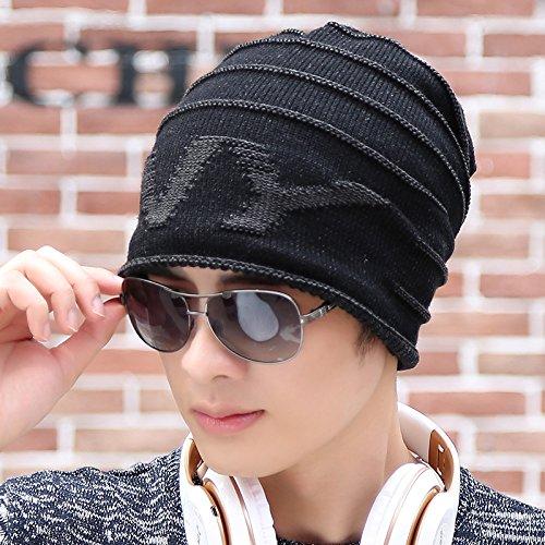 FQG*L'inverno hat uomini cappello di maglieria esterna maglieria caldo hat leisure Baotou testa cappuccio maschio del tappo e tappo inverno , nero