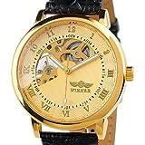 ESS - Herrenuhr - mechanische Uhr - goldene Gehäuse - Leder Herren armbanduhr - WM208 - Geschenk