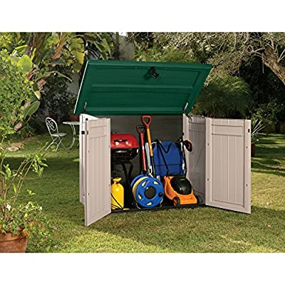 Keter Store It Out XL Outdoor Plastic Garden Storage Shed - Beige/Green, 160 x 90 x 119 cm - low-cost UK light store.