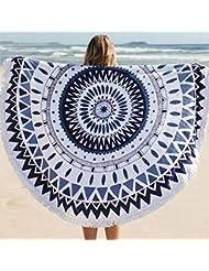 QHGstore Ronda de la borla Fleco irradia la estera de la playa de la toalla de tela de algodón Yoga Tabla