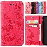Yiizy Samsung Galaxy S5 Mini G800F Hülle, Schmetterling Blume Entwurf PU Ledertasche Beutel Tasche Leder Haut Schale Skin Schutzhülle Cover Stehen Kartenhalter Stil Schutz (Rose Rot)