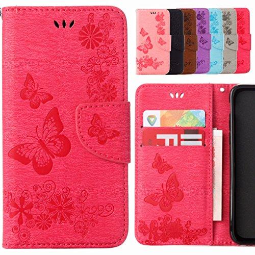 Yiizy Lenovo A1000 Hülle, Schmetterling Blume Entwurf PU Ledertasche Beutel Tasche Leder Haut Schale Skin Schutzhülle Cover Stehen Kartenhalter Stil Schutz (Rose Rot)