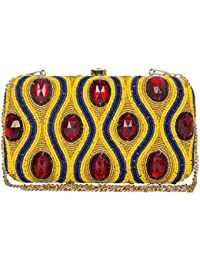 The Indian Handicraft Store Presents Designer Handmade Box Clutch Both Side Stones Work On Yellow And Blue Beads