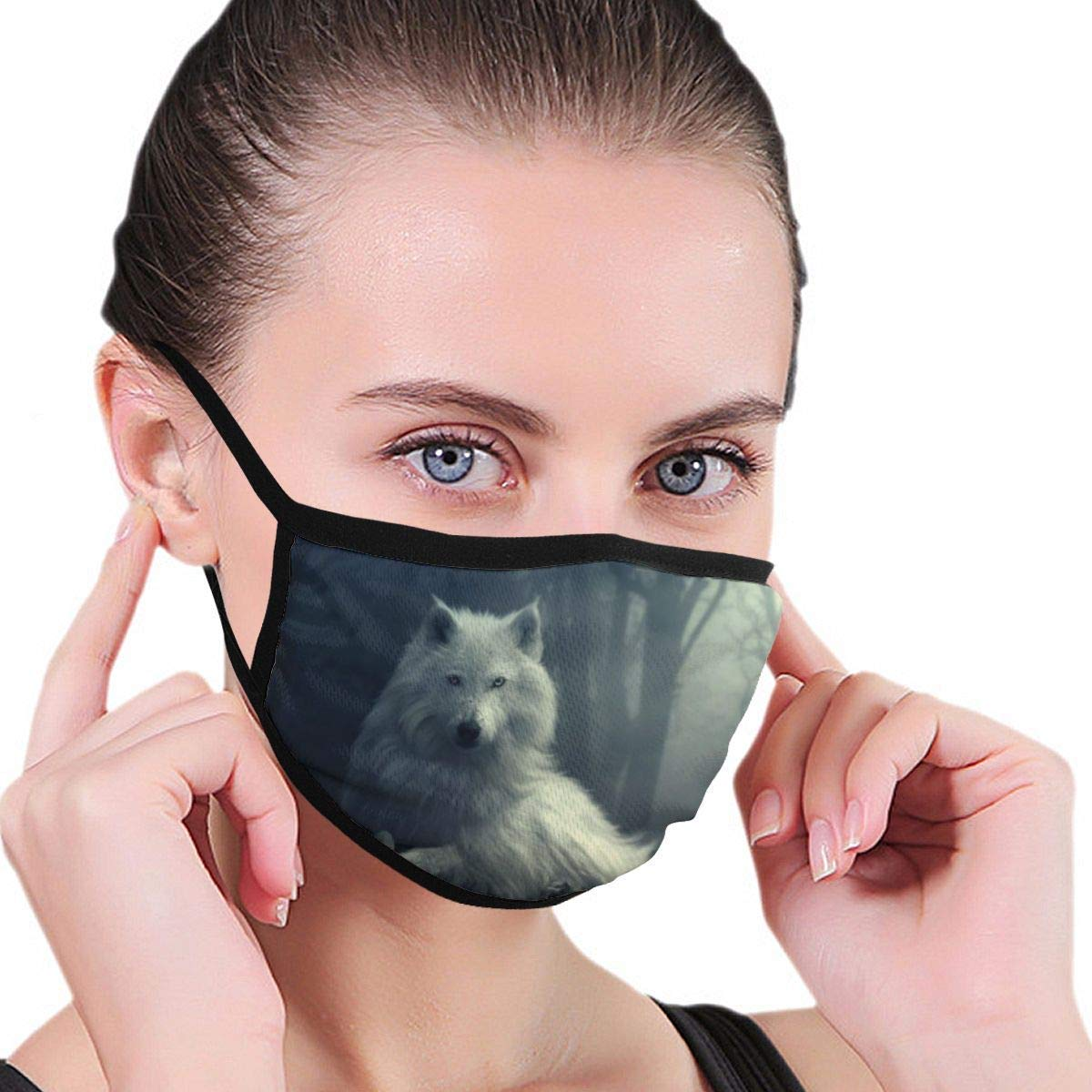 Bdwuhs Mascarillas Bucales Forest Wolf Reusable Insulated Anti Pollution Dust Mask Washable and Reusable Polyester Face Mouth Mask Protection from Flu Germ Pollen Allergy Respirator Mask