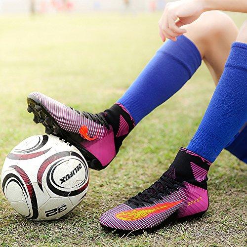 LEOCI Bois Chaussures de football Crampons en microfibres Adolescents Profession Athlétisme Violet