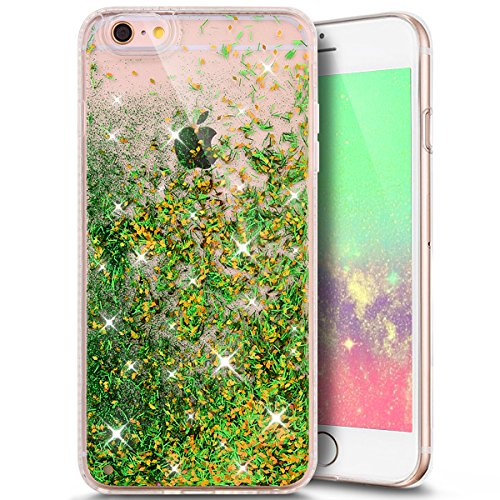 Custodia Cover Resistenti per iPhone 6/6S 4.7,Ukayfe iPhone 6/6S 4.7 Custodia Cover Con Morbido Silicone Diamante Confine, Creative Disegno Liquid Flowing Sparkles Argento Shinny Scintillio Bling Star Verde 6#