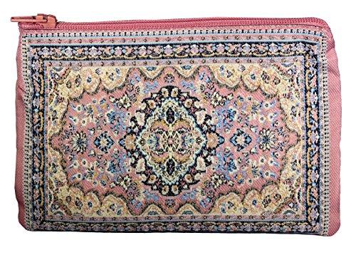 Unique Woman Münzbörse - Kartenetui - Blumen-Design - Stoff orientalischer Teppich - Pink - Klein -