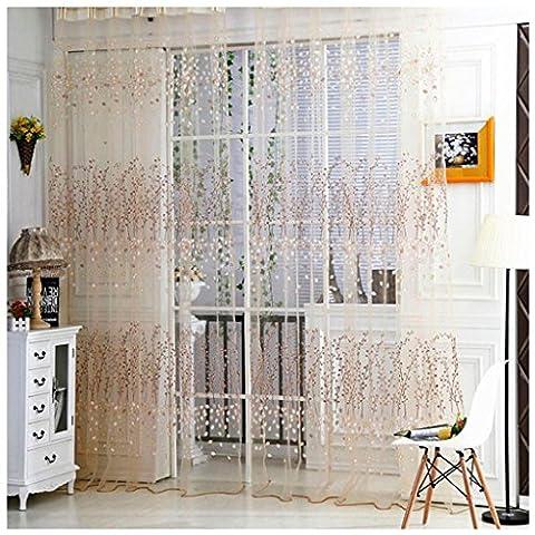 omiky® 1fenêtre rideau voilage, 100,1x 270cm Polyester Rideau de porte de balcon avec motif Peach Blossom, Polyester, orange, 100cm*270cm/39.4*106.3