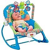 كرسي هزاز للاطفال مع العاب ملهية للطفل وموسيقي هادئه -لون لبني
