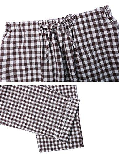 Aibrou Herren Schlafanzughose Pyjamahose Nachtwäsche Hose Baumwolle Lang Sleep Hose Pants Kariert Braun