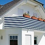 Balkonverkleidung - Balkonumspannung - Sichtschutz - Balkonsichtschutz 500x90cm mit Farbauswahl (blau/weiß)