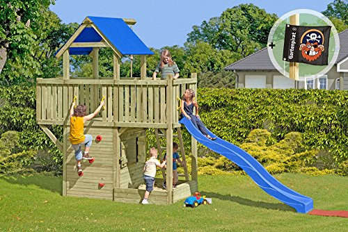 Gartenpirat Spielturm mit Rutsche Kletterturm Galeone mit Spielhaus, Sandkasten und Rutsche