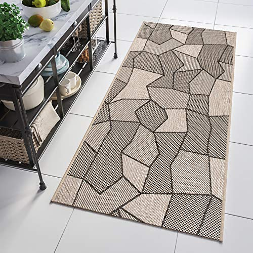 *Tapiso Floorlux Teppich Läufer Meterware Flur Küche Wohnzimmer Indoor Sisal Optik Modern Grau Beige Figuren Flachgewebe nach Maß 70 x 400 cm*