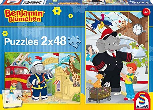 Schmidt Spiele Puzzle 56097 - Benjamin Blümchen, Immer im Einsatz, 2 x 48 Teile