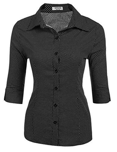 HOTOUCH Damen Hemd Bluse Klassische Damenbluse Basic Kurzarm Hemdbluse Freizeithemd Arbeitshemd Schwarz Tupfen S (Button-down Kurzarm-arbeitshemd)