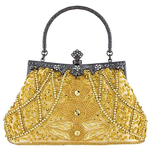 Bagood Damen Vintage Clutches Geldbörsen Abendtaschen Handtasche Schultertasche Seed Perlen Pailletten Blume für Hochzeit Braut Prom Party Gold - Vintage Perlen Handtasche