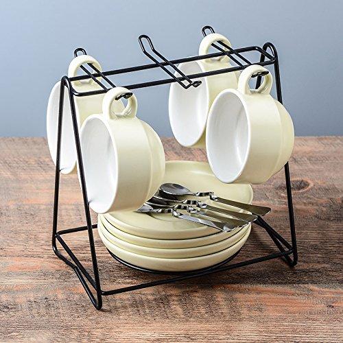 Besteck Keramik Kaffee Kaffeeservice Austragsrechen einfache Cappuccinocup mit Saucer 145ml, beige 4