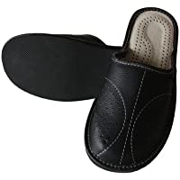 Slippers World Mens Leather Slippers - Handmade Moccasins Shoes Made with Natural Mules Wool - Available in All UK Sizes