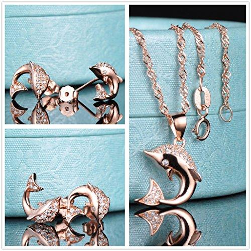 Yumilok Roségold 925 Sterling Silber Zirkonia Delfin Ohrstecker Halskette Schmuck Set Ohrringe Kette mit Anhänger Set für Damen Mädchen - 2