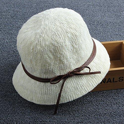 ZHANGYONG*Sun cappelli estivi cappelli femmina di cappelli di paglia cappuccio piccolo bacino seaside fisherman cap ombrellone cappello di paglia sunscreen beach , i cappucci , codice è bianco latte