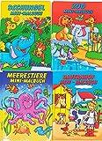 10 Malbücher mini Malbuch DIN B6 (17,6 x 12,5 cm) Mitgebsel Kinderparty Hochzeit Geschenk Kindergeburtstag - vier Motive