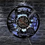 OOFAY Clock@ Ultra Leise Wanduhr aus Vinyl Schallplattenuhr Vintage Familien Zimmer Dekoration 3D Schneiderei Nähmaschine Design-Uhr Wand-Deko LED-Licht/Durchmesser 30Cm