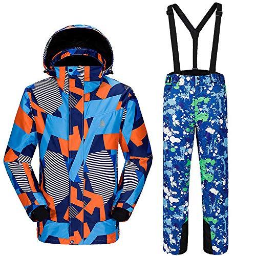 mingliang All'aperto Tuta da Sci Caldo Antistatico Uomo Mimetico Snowsuit + Pantaloni Splashing Ink-M