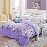 Unbekannt WLL Pastoralen Stil Gestreifte Blumen/Blumen 100% Baumwolle Bettbezug-D 220 * 240 cm (87 x 94 Zoll)