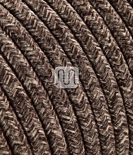 Cavo elettrico tondo rotondo rivestito in tessuto colorato filato grezzo canvas lino marrone 10 metri 2x0,75 per lampadari, lampade, abat jour, design. made in italy!
