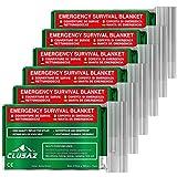 Manta de emergencia Aceituna XL 210x160cm (paquete de 6) por CLUSAZ - Retiene hasta el 90% del calor, Impermeable, Perfecto para Esquí, Maratón, Senderismo, Campamento, Primeros Auxilios, Seguridad vial - GARANTÍA